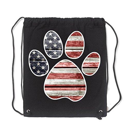 Aliensee Patriotic Paw Print, American Flag Unisex Cotton Gym Sack Bag Drawstring Backpack Sport Bag School Travel Sackpack 13.78