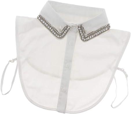 Baoblaze Desmontable Media Camisa Blusa Falso Cuello Bordado Dickey Collar - Blanco 1: Amazon.es: Joyería