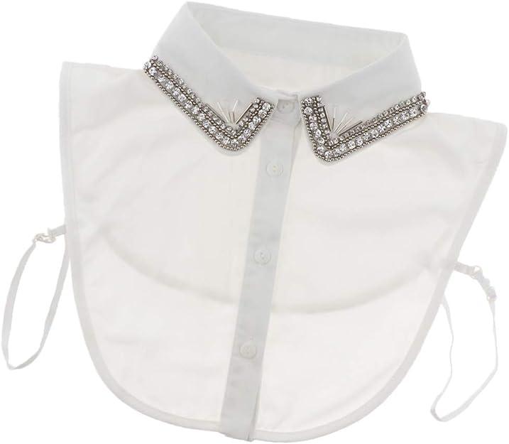 Baoblaze Desmontable Media Camisa Blusa Falso Cuello Bordado Dickey Collar