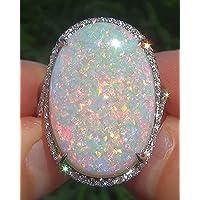 khamchanot Large 925 Silver Fire Opal Gemstone Ring Wedding Engagement Women Jewelry Sz6-10 (10)
