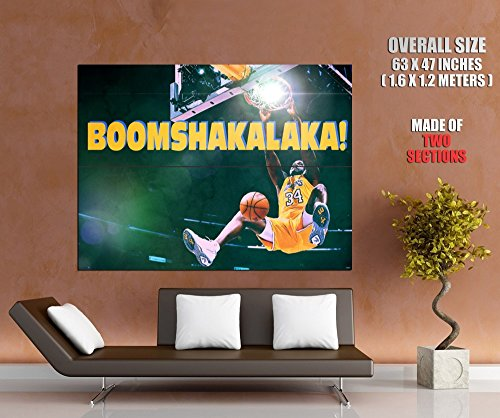 BOOM SHAKALAKA Shaquille O'Neal Dunk Painting Retro Vintage Art Los Angeles Lakers Basketball 63x47 Huge Giant Poster Print