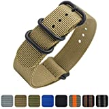 Nato Strap 20mm 22mm Premium Ballistic Nylon Military Watch Bands 5 Ring Black Swiss Zulu Straps (20mm, Khaki)