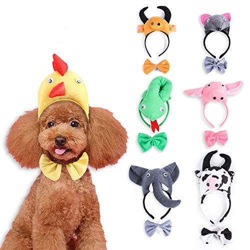 KimiGo Pet Halloween Headwear Set- Funny PP Cotton Headband Headgear Set for Cats Dogs Halloween Ornaments Party Dressing Up (Green Snake) -