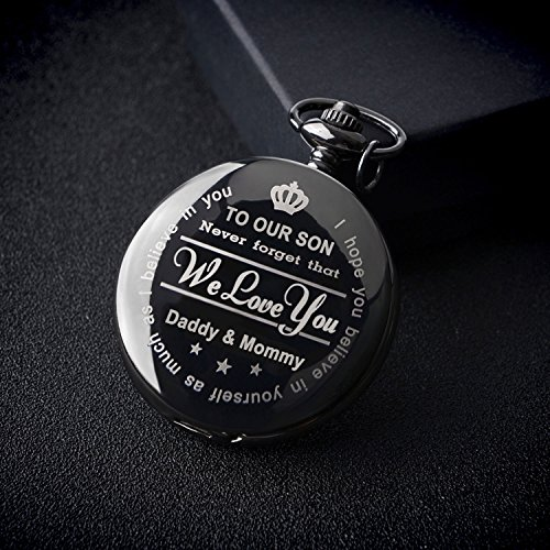 Engraved Son Gifts Pocket Watch Personalized Pattern Vintage Pocket Watch with Chain Christmas Graduation Gifts