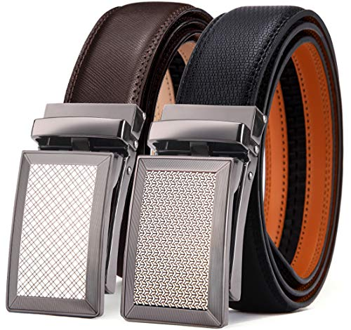 Unit Cutting - Mens Belt,Bulliant Leather Ratchet Click Belt for Men Father's Gift,Size Adjustable,2 Units Gift-Boxed