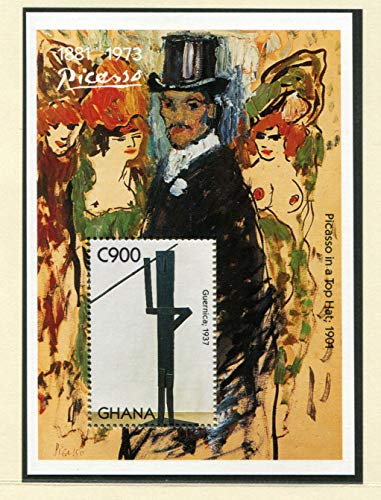 Pablo Picasso - Famous Artist - Cubism - Picasso in a Top Hat - Beautiful Collectors Stamps - Ghana