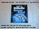 Gillette Sensor Excel - 40 Count (4 x 10 Packs)