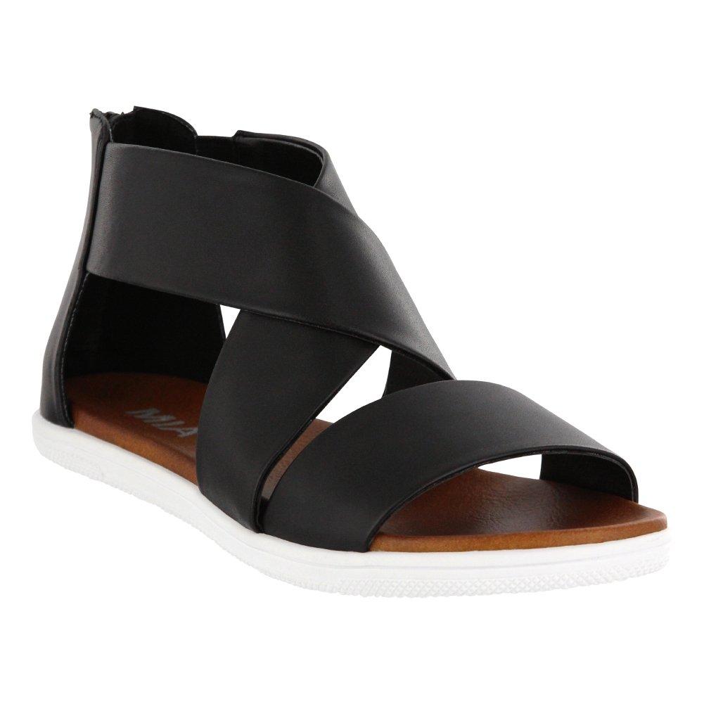 MIA Women's Deana Flat Sandal, Black, 8.5 M US