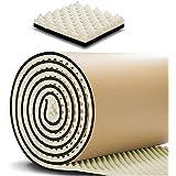 SDOFF 吸音材防音材防音シート 遮音シート壁 極厚3cm 大面積 100cm×1000cm ロール波型/裏面が粘着テープ付きなのでカットして簡単貼り付け (10M, ベージュ)