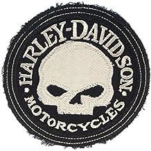 Harley-Davidson White Willie G Skull Frayed Edge Cotton Patch