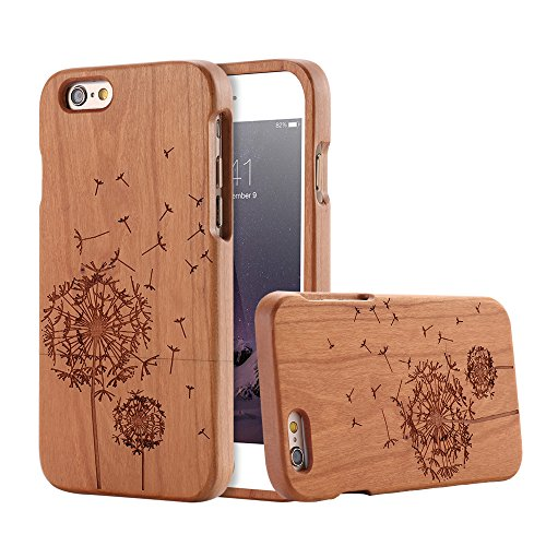 For Apple iPhone 6 6s Case, FLOVEME [Wooden Engraving Pattern] Premium Handmade Real Natural Wood Hard Bamboo Shockproof Slim Cover Holder - Cherry Wood (Dandelion) - Iphone 6 Wood Case Dandelion