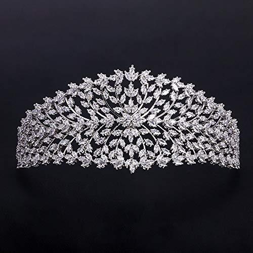 Flowers Creative Fashion Ladies Wedding Headwear With Cubic Zircon Wholesale Bridal Hair Jewelry Bridal Hair Crown Tiara Diadem Crown-C8409 from Follsy