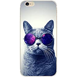 iPhone 6/6S Case,Blingy's New Animal Series Flexible Soft Rubber TPU Case for Apple iPhone 6/6S (Cat with Glasses)