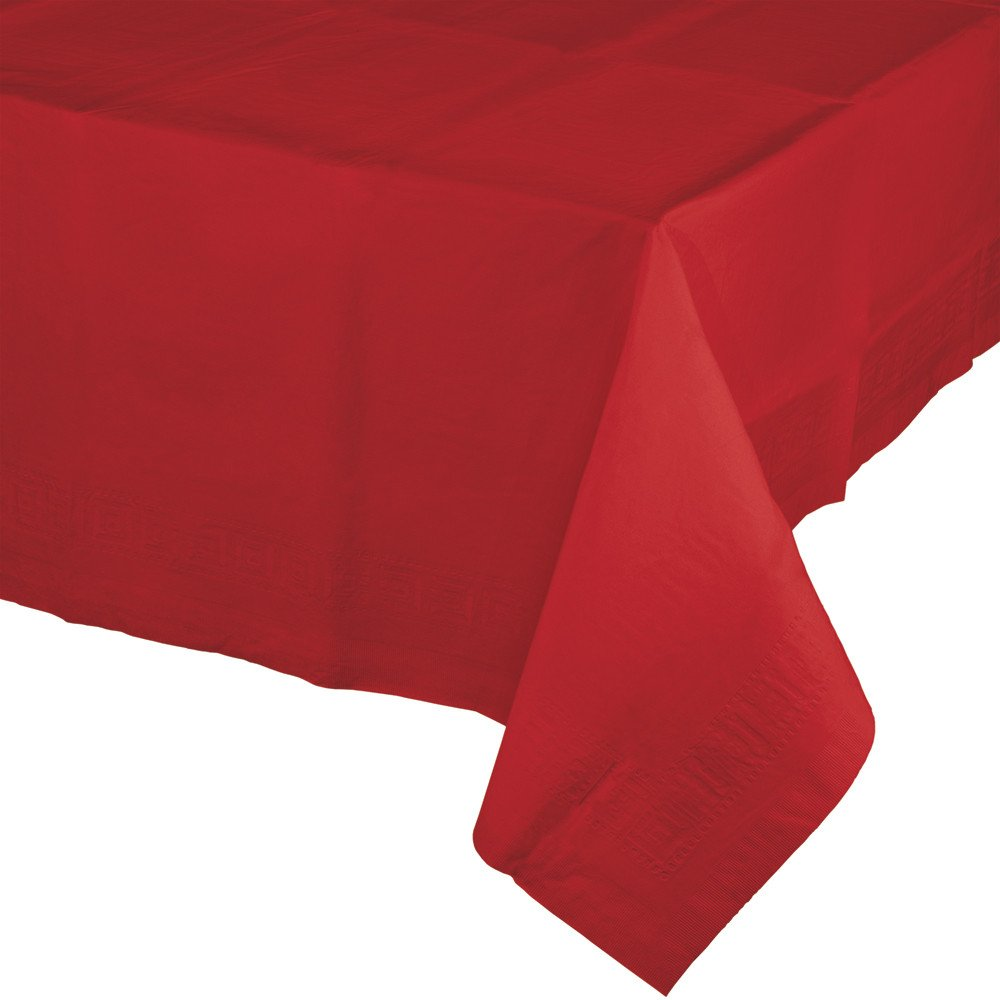 Creative Converting 6 Count Touch of Color Paper Table Covers with Poly Backing, Classic Red - 711031