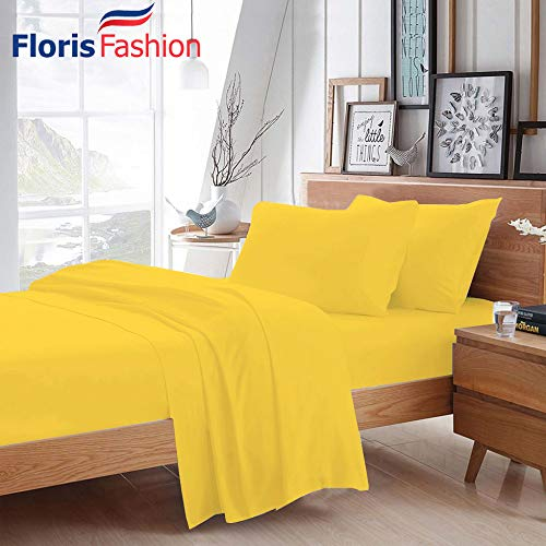 Floris Fashion King 300TC 100% Egyptian Cotton Yellow Solid 4 Piece [1 Top,1 Fitted,2 Housewife Pillowcases] Sheet Set Solid (Pocket Size: 30 inches) Easy Care Fabric ()
