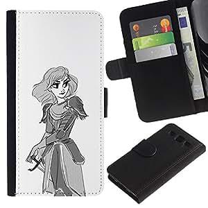 Stuss Case / Funda Carcasa PU de Cuero - La princesa guerrera arte Dibujo Lápiz Espada - Samsung Galaxy S3 III I9300
