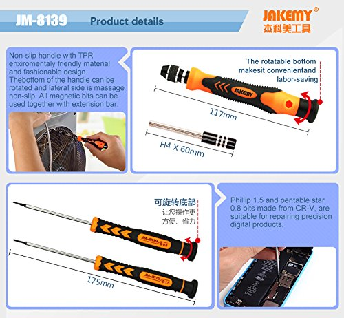 45 in 1 Magnetic Repair Tool Kit Screwdriver set Hardware Screwdriver Kit with Portable Box for iPhone/ Plus/ Game Console/ Tablet/ PC/ MacBook/ iPad and Other Electronics by Jakemy (Image #4)