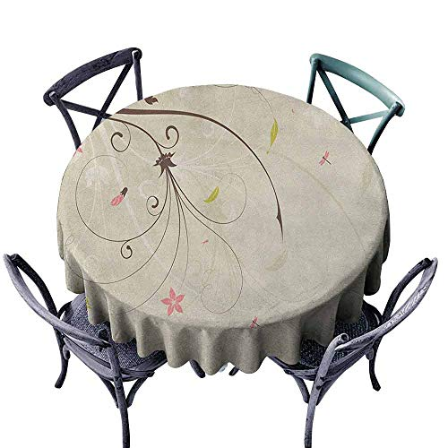 - ScottDecor Patio Round Tablecloth Outdoor Picnics Dragonfly,Spring Field Bouquet Shabby Chic Abstract Blossom Greenland Graphic Art, Tan Brown Pale Pink Diameter 70