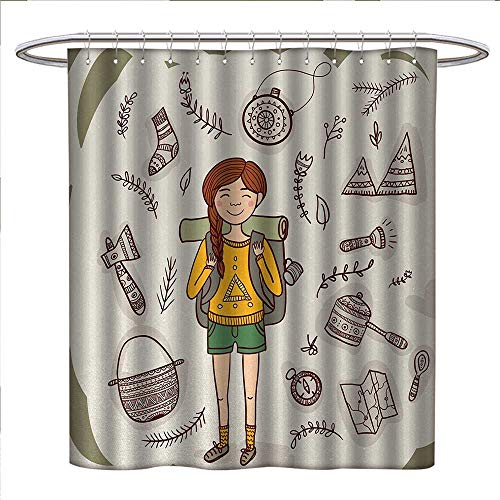 Anniutwo Explore Shower Curtains Sets Bathroom Hiker Girl with a Backpack with Doodle Boho Ethnic Ornate Native American Elements Fabric Bathroom Decor Set with Hooks W48 x L84 ()