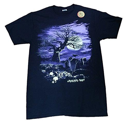 Halloween Graveyard Shift Black Graphic T-Shirt - Large (Graveyard Halloween)