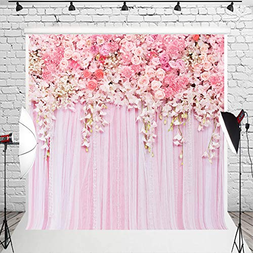 (Muzi 8x8ft Rose Flowers Wall Photo Backdrop Pink Lace Curtain Background Wallpaper Home Decor for Baby Birthday Party D-9354)