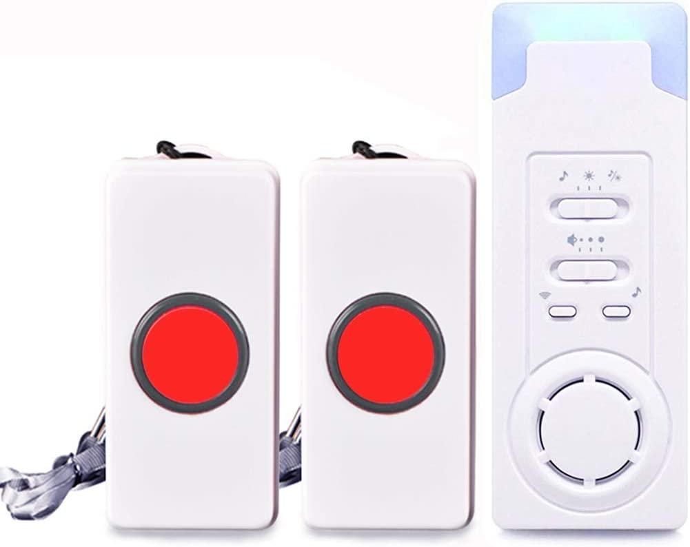 Caregiver Pager Wireless Elderly Call Alert System Personal Call Button Alert System for Patient Nurse Disabilities Water-Resistant 52 Melody 2 SOS Button Transmitter+1 Plugin Receiver