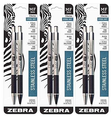 Zebra M/F 301 Stainless Steel Mechanical Pencil and Ballpoint Pen Set, Fine Point, 0.5mm HB Lead Pencil and 0.7mm Black Ink Pen, 3 ()