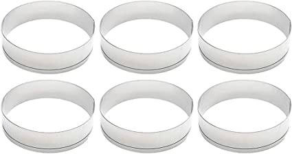 6Pcs Bakery Stainless Steel Cake Muffin Crumpet Bread Rings Baking Mold Tools
