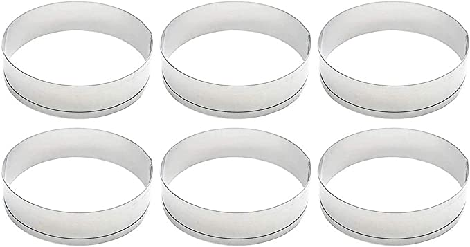 6Pcs Stainless Steel Cake Muffin Crumpet Bread Rings Bakery Baking Mold Tool Kit