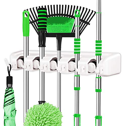 LETMY Broom Holder Wall Mounted - Mop and Broom Holder - Garage Storage Rack&Garden Tool Organizer - 5 Position 6 Hooks for Home, Kitchen, Garden, Tools, Garage Organizing (White, 1 Pack) from LETMY