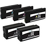 LxTek Remanufactured Ink Cartridge Replacement For New Generation HP 950XL & HP 951XL (2 Black | 1 Cyan | 1 Magenta | 1 Yellow) 5 Pack CN045AN CN046AN CN047AN CN048AN Compatible With Officejet Pro 8610, 8620, 8630, 8640, 8660, 251dw, 276dw MFP, 8100 - N811a, 8600 e-All-in-One - N911g, 8600 Plus - N911n, 8600 Premium - N911a Printer