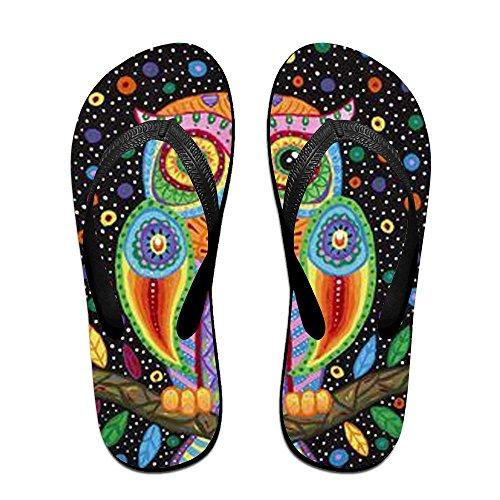 for Women Slippers Flip Black Colorful Owl Men Kids PTJHKET Flops v7fZqx4