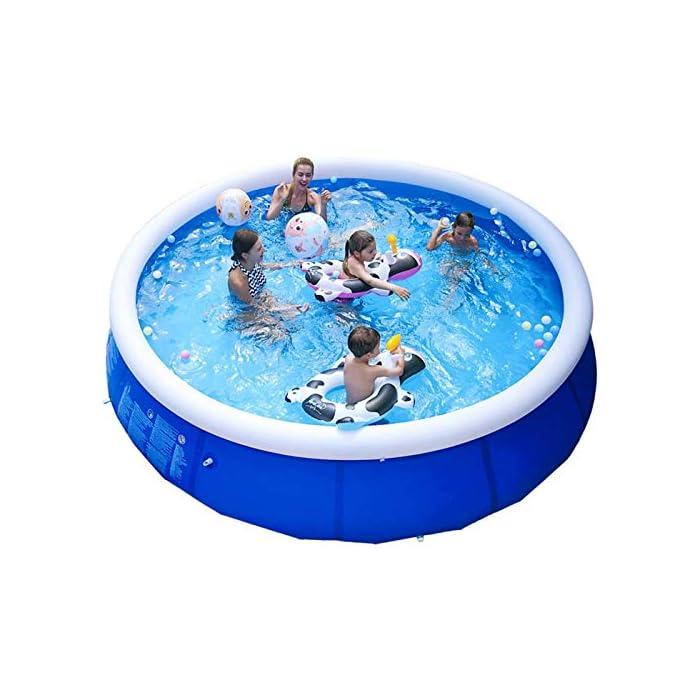 51M49LdiDlL Fácil de instalar: nuestra piscina es fácil de instalar, y llene la piscina inflable con agua unos diez minutos. Diferentes capacidades: las piscinas de diferentes tamaños pueden contener diferentes números de personas, 6 pies x 29 pulgadas pueden contener 2 niños; 8 pies x 30 pulgadas pueden contener 3 niños; 10 pies x 30 pulgadas pueden contener 4 ~ 5 niños; 12 pies x 30 pulgadas pueden contener 5 ~ 6 niños. Por favor elige el tamaño que necesitas. Duradero: nuestras piscinas exteriores están hechas de una capa intermedia de PVC de protección ambiental de alta calidad, protección ambiental e inofensiva. Puede disfrutar de la piscina con su familia en el terreno plano del patio trasero.