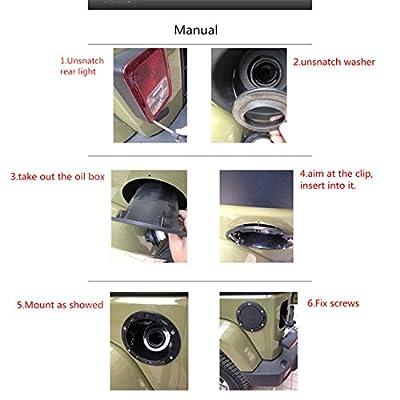 Iztoss Black Stainless Steel ABS Gas Fuel tank Cap Cover 4-Door 2-Door Fit for Jeep Wrangler JK & Unlimited 2007-2015