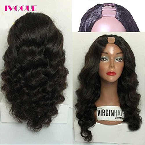 iVogue Hair Malaysian Virgin Human Hair U Part Wig Loose Bouncy Wave None Lace Upart Wigs Human Hair U Openging Wigs for Black Women 180 Full Density (Bouncy Hair Wig)