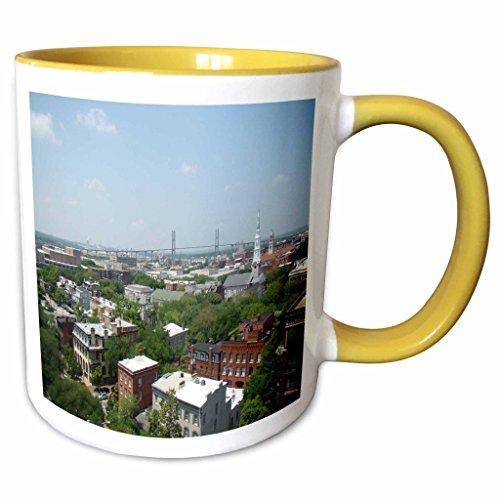 3dRose Ann Euell Savannah GA - City view - 11oz Two-Tone Yellow Mug - Ga Outlets Savannah