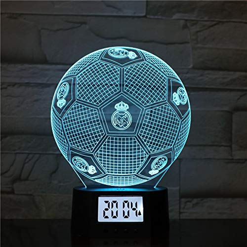 Luces Nocturnas 3D Real Madrid Football Lámpara Led 3D Nueva Linda Mesa De Dormitorio Luz Nocturna Panel De Acrílico Cable USB 7 Colores Cambiar La ...