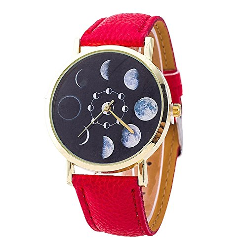 Bjduck99 Unisex Moon Phase Astronomy Space Watch Faux Leather Band Quartz Wrist Watch