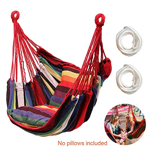 Hammock Chair Hanging Rope Swing Seat for Indoor Outdoor, Sturdy Cotton Weave Hammock Swing, Max 300Lbs Hanging Hammock Chair for Bedroom Patio Porch (Rainbow)