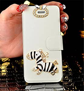 Tip-top? Lenovo S898T Diamond Rhinestones Crystal Bling Case, Silk Folio Pu Leather Flip Ack Case Cover Shell for Lenovo S8 S898T(zebra White)