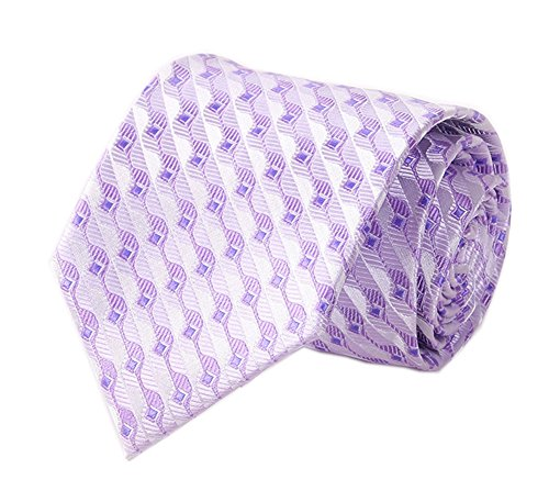 Polished Cotton Blazer (Men Light Purple White Woven Geometry Tie Regular Soft Business Big Boy Necktie)