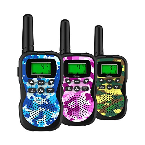 Huaker Kids Walkie Talkies,3 Pack 22 Channels 2 Way Radio Toy with Flashlight and LCD Screen ,3 Miles Range Walkie Talkies for Kids Outside Adventures, Camping, Hiking