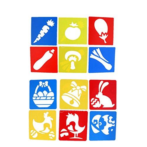 Fenteer ステンシルシート 教育ツール 子供DIY工芸品おもちゃのため 興味 12個 ステンシルルーラー かわいい