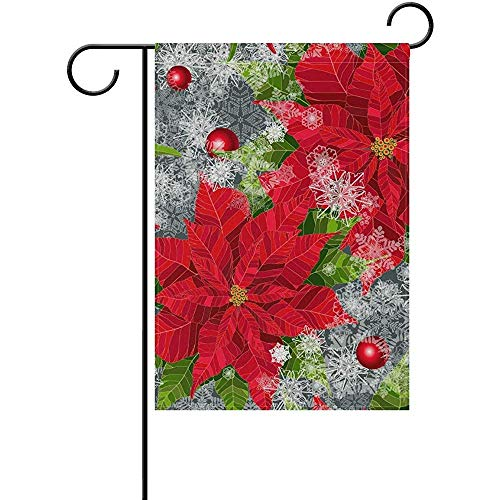 Sandayun88x Decorative Happy Holidays Poinsettias Flower Christmas Double Sided Polyester Garden Flag Banner 12.5 x 18 Inch Two Sided for Outdoor Home Garden Flower Pot Decor
