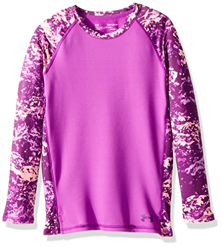 Under Armour Girls' ColdGear Crew Neck,Purple Rave (959)/Indulge, Youth Large