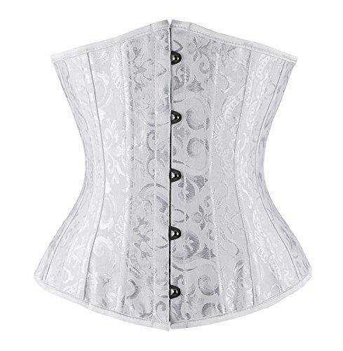 Charmian Women's 26 Steel Boned Underbust Waist Training Corset for Weight Loss White