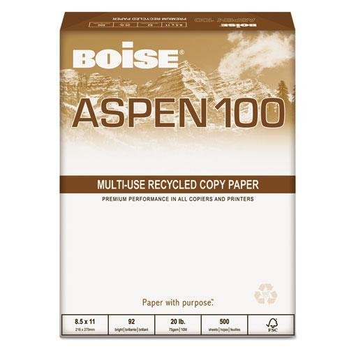 - BOISE 54922 ASPEN 100% Recycled Office Paper, 92 Bright, 20lb, 8-1/2 x 11, White, 5000/CT