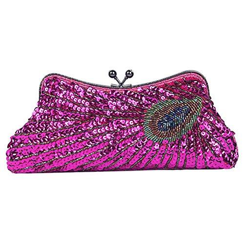 NVBAO Bolso de noche de las mujeres Peacock con cuentas de lentejuelas Cena boda bolso de embrague bolsos, 25 X 13 cm, champagne, one size rose