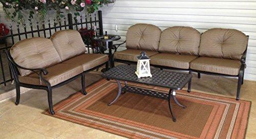 (Nassau Outdoor Patio 4pc Set Seating Group Dark Bronze Cast Aluminum Walnut Cushions)