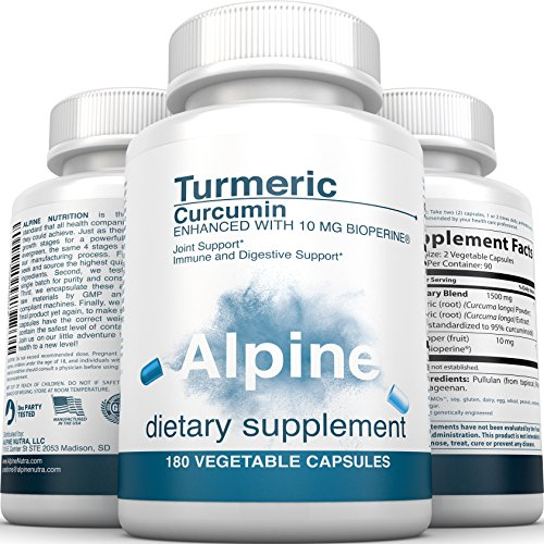 51M4AsXaFpL - Alpine Nutrition Turmeric Curcumin 1500mg with BioPerine 95 % Standardized Curcuminoids 180 Count Non-GMO Certified Organic Vegan Capsules for Joint & Immune Support